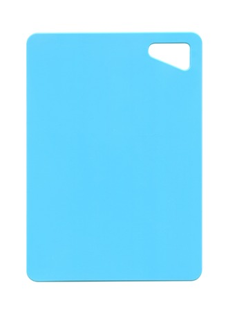 Kitchen cutting board of blue plastic on a white background