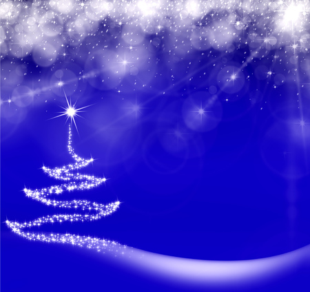 Sparkling Christmas tree under the stars for the New Year