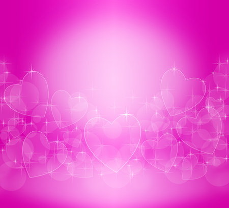 Abstract background of pink color with highlights in the form of hearts and sparks Фото со стока