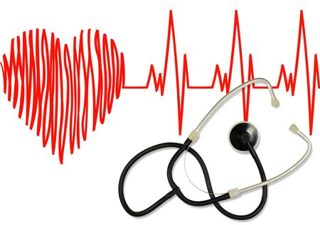 Phonendoscope on the image of the heart and cardiogram. Health care concept.