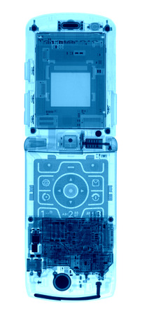 Mobile Phone under the X-rays in blue tones on white background
