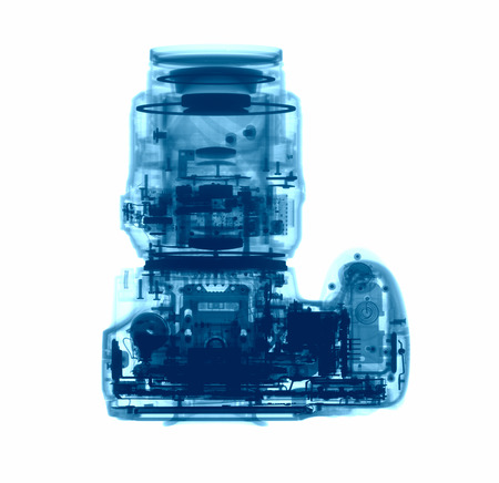 x ray equipment: DSLR photo camera under the X-rays in blue tones