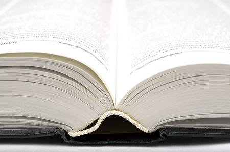 The big open book in green paper cover. Close up view. Standard-Bild