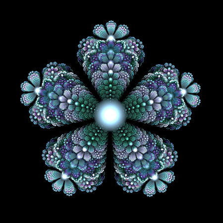five petals: Colorful fractal in the form of five petals of a flower on a black background.
