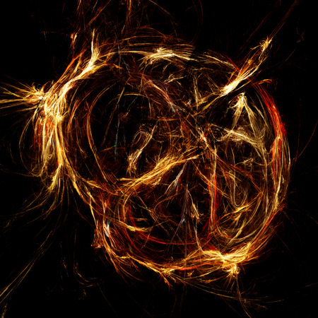 supernova: The explosion of a supernova. Fiery glowing ball. Abstract. Fractal illustration. Dark background. Space.