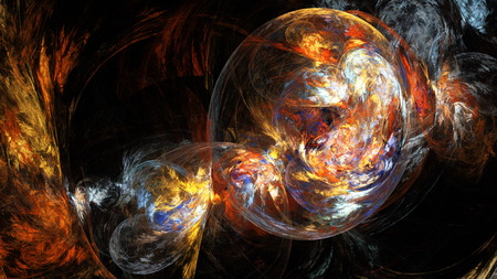 16 9: Bubble colored smoke. Abstract illustration. Format 16: 9 for widescreen monitors. Fractal Wallpaper on your desktop. Digital artwork for creative graphic design. Dark background. Stock Photo