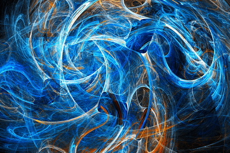 Clubs colored smoke. Chaos curves. Space wind. Abstract image. Fractal Wallpaper on your desktop. Digital artwork for creative graphic design. Dark background.