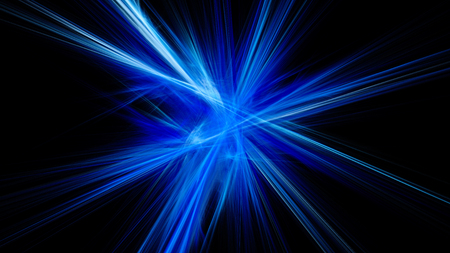 Colored light rays. The refraction of light. A bright flash. Abstract image. Fractal Wallpaper on your desktop. Digital artwork for creative graphic design. Dark background. Stock Photo