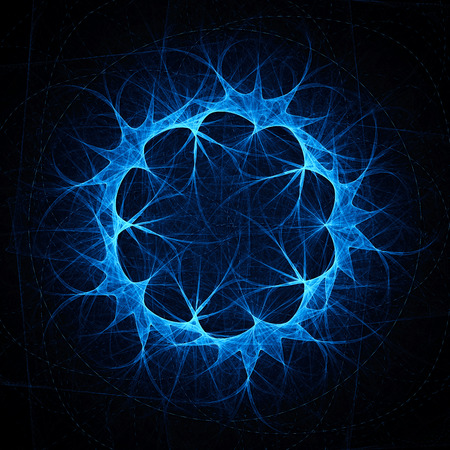 fractal background: Extravagant dandelion. Movement sparks on curved path. Orbits electrons in the atom. Abstract image. Fractal Wallpaper on your desktop. Digital artwork for creative graphic design. Dark background. Stock Photo
