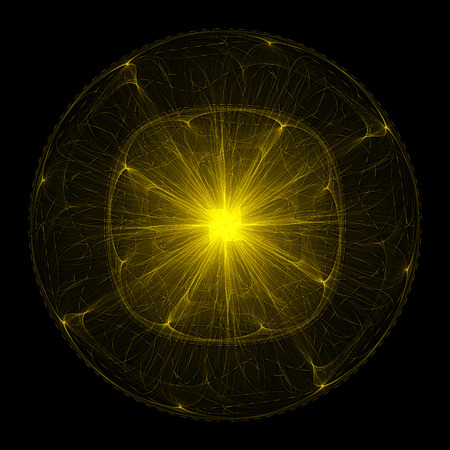 extravagant: Extravagant dandelion. Movement sparks on curved path. Orbits electrons in the atom. Abstract image. Fractal Wallpaper on your desktop. Digital artwork for creative graphic design. Dark background. Stock Photo