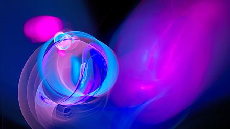 air bubbles: Rings of colored smoke. Bright air bubbles under water