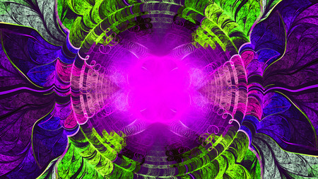 whorls: Unusual color pattern of whorls, circles and leaves. Abstract image. Fractal Wallpaper on your desktop. Format 16: 9 widescreen monitors. Digital artwork for creative graphic design. Stock Photo