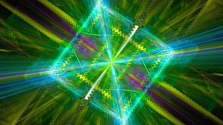 refraction of light: Shining diamond in the shape of cube. Refraction light through glass