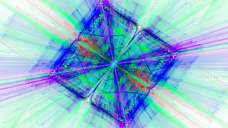 Shining diamond in the shape of cube. Refraction light through glass. Abstract. Fractal Wallpaper on your desktop. Widescreen. Digital artwork for creative graphic design.