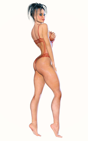 hot girl legs: Figure of beautiful sexy athletic woman. Red transparent body, no shoes. Bright make-up. Isolate. High key. White background. Stock Photo