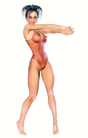 transparent body: Figure of beautiful sexy athletic woman. Red transparent body, no shoes. Bright make-up. Isolate. High key. White background. Stock Photo