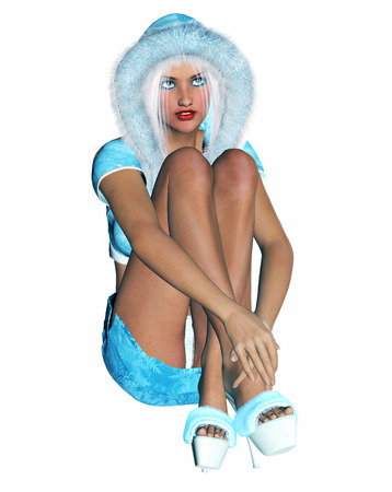sexy skirt: 3D figure beautiful sexy Snow Maiden with short blue skirt and blouse with fur collar. Luxurious girl body. Blond hair and blue eyes. Bright and flashy makeup. High key, isolate. Seductive pose.