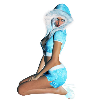blond hair: 3D figure beautiful sexy Snow Maiden with short blue skirt and blouse with fur collar. Luxurious girl body. Blond hair and blue eyes. Bright and flashy makeup. High key, isolate. Seductive pose.