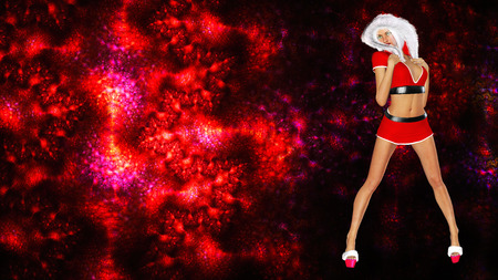 short skirt: 3D figure of beautiful sexy Snow Maiden on bright color background. Short red skirt and blouse with fur collar. Luxurious girl body. Bright flashy makeup. Seductive pose, collage. New Year, Christmas