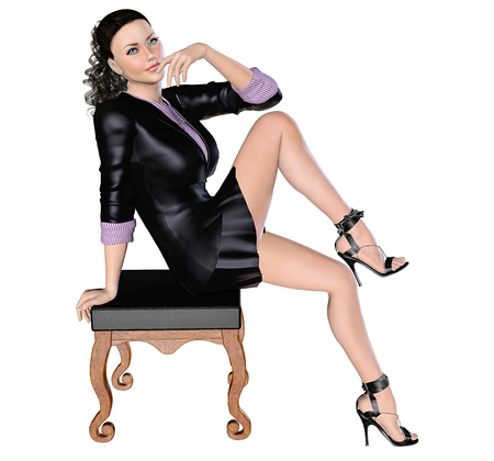 Sexy girl in black skirt and blouse with long sleeves near with chair. 3D figure render. Bright and flashy makeup. High key, isolate. Seductive pose. Stock Photo