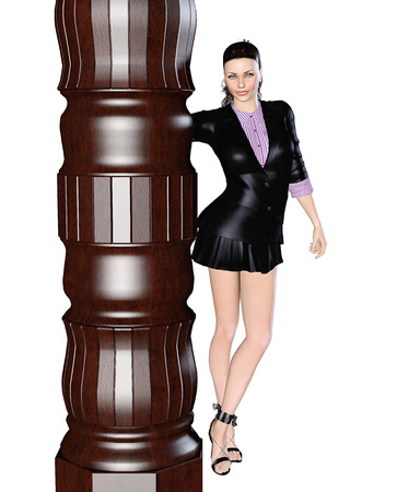 flashy: Sexy girl in black skirt and blouse with long sleeves near the column. 3D figure render. Bright and flashy makeup. High key, isolate. Seductive pose.
