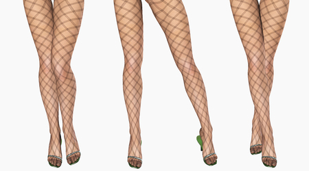 female legs: Sexy slim female legs in dark stockings. Conceptual fashion art. Patterned pantyhose. 3D render. Stock Photo