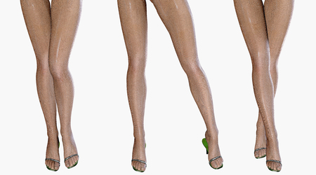 female legs: Sexy slim female legs in latex stockings. Conceptual fashion art. Shiny pantyhose. 3D render. Stock Photo