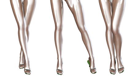 artificial leg: Sexy slim female legs in latex stockings. Conceptual fashion art. Shiny pantyhose. 3D render. Stock Photo
