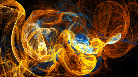 16 9: Multicolored glowing ball of smoke. Abstract image. Fractal Wallpaper on your desktop. Digital artwork for creative graphic design. Format 16: 9 widescreen monitors.