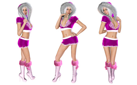 short skirt: 3D figure beautiful sexy Snow Maiden with short lilac skirt and blouse with fur collar. Luxurious girl body. Blond hair and blue eyes. Bright and flashy makeup. Isolate. Seductive pose. Christmas