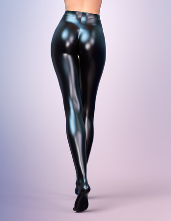 fashion art: Sexy slim female legs in black latex stockings. Conceptual fashion art. Shiny pantyhose. 3D render, back side view. Stock Photo