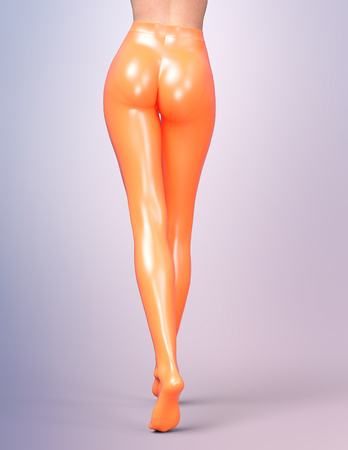 sexy stockings: Sexy slim female legs in orange latex stockings. Conceptual fashion art. Shiny pantyhose. 3D render, back side view. Stock Photo