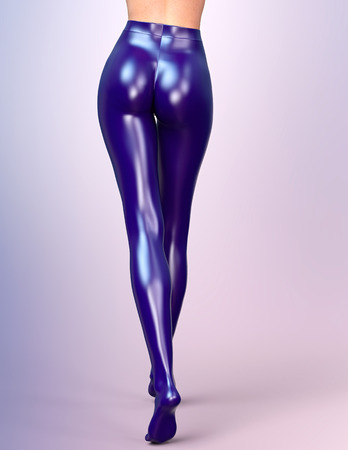 sexy stockings: Sexy slim female legs in blue latex stockings. Conceptual fashion art. Shiny pantyhose. 3D render, back side view.