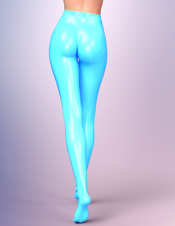 female legs: Sexy slim female legs in blue latex stockings. Conceptual fashion art. Shiny pantyhose. 3D render, back side view.