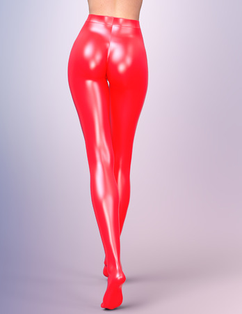 female legs: Sexy slim female legs in red latex stockings. Conceptual fashion art. Shiny pantyhose. 3D render, back side view. Photorealistic graphics. Stock Photo