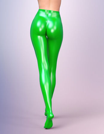 female legs: Sexy slim female legs in green latex stockings. Conceptual fashion art. Shiny pantyhose. 3D render, back side view. Photorealistic graphics. Stock Photo