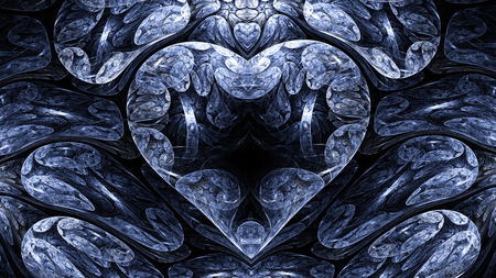 mysterious: Abstract image. Cold mysterious psychedelic heart. Sacred geometry Valentine. Stock Photo