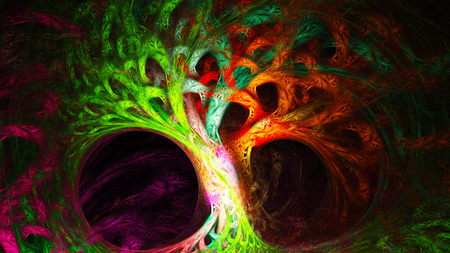 mysterious: Abstract image. Mysterious psychedelic tree. Sacred geometry.
