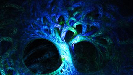 抽象的なイメージ。神秘的なサイケデリックなツリー。神聖な幾何学。