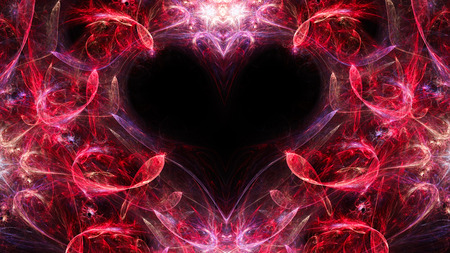 Abstract image. Mysterious psychedelic relaxation heart. Sacred geometry. Valentine. Fractal Wallpaper pattern desktop. Digital artwork creative graphic design.