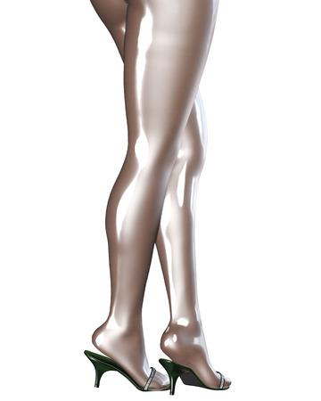 chicas guapas: Piernas femeninas delgadas atractivas en pantimedias de l�tex.