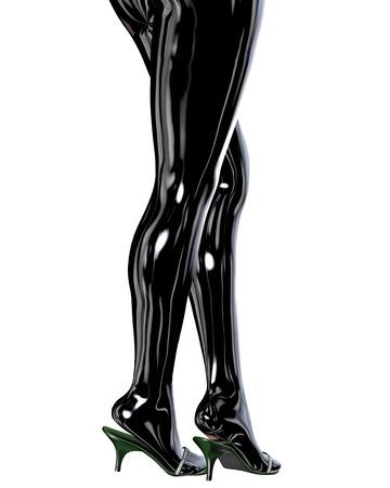 cuerpo femenino: Piernas femeninas delgadas atractivas en pantimedias de l�tex.