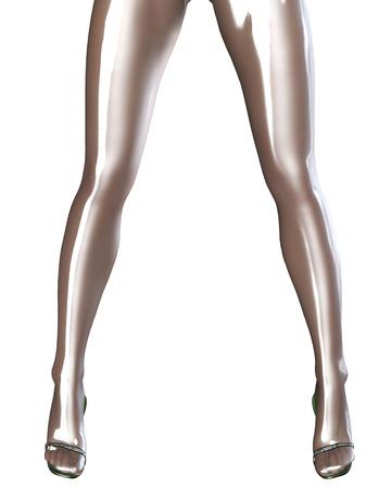 sexy legs: Sexy slim female legs in latex pantyhose.