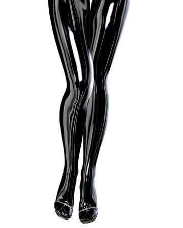 white stockings: Sexy slim female legs in latex pantyhose.
