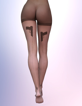 shapely legs: Dark nylon tights with guns Stock Photo