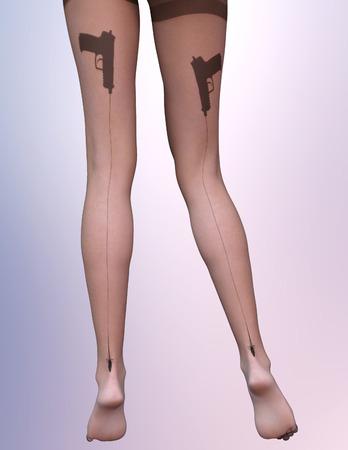 hot girl legs: Dark nylon tights with guns Stock Photo