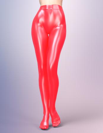 pantimedias: Piernas femeninas delgadas atractivas en pantimedias de látex.