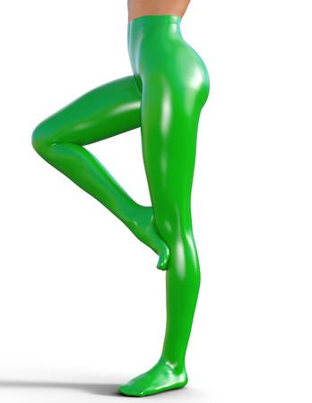 medias veladas: Piernas femeninas delgadas atractivas en pantimedias de látex.