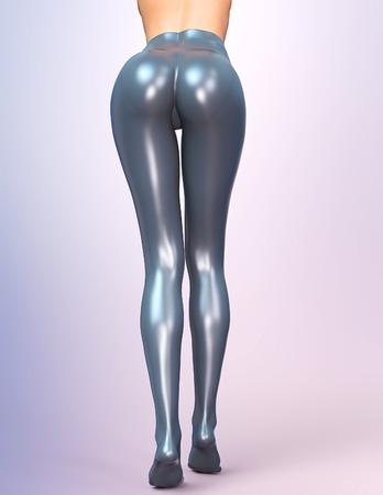 latex: Sexy slim female legs in latex pantyhose.