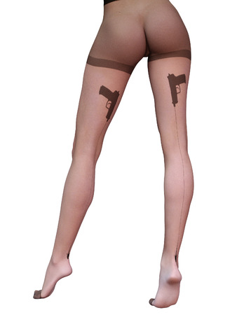 tight body: Sexy slim female legs in nylon pantyhose. Stock Photo